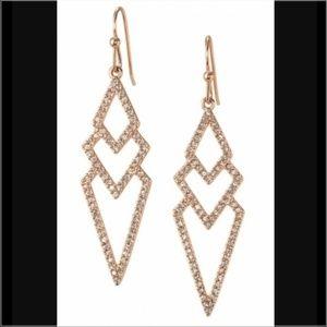 Stella & Dot Rose Gold Pave Chevron Spear Earrings